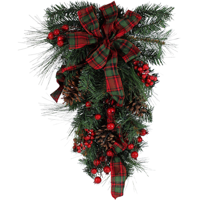 Holiday Living Lighted Teardrop Wreath - LED - 24-in - PVC/Pinecones - Red/Green