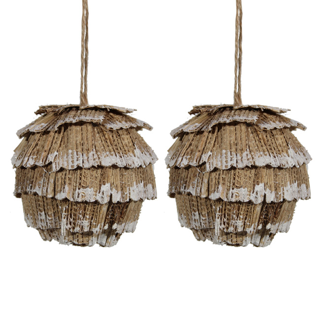 Holiday Living Pinecone Ornaments - Polystyrene Foam - Brown - Pack of 2