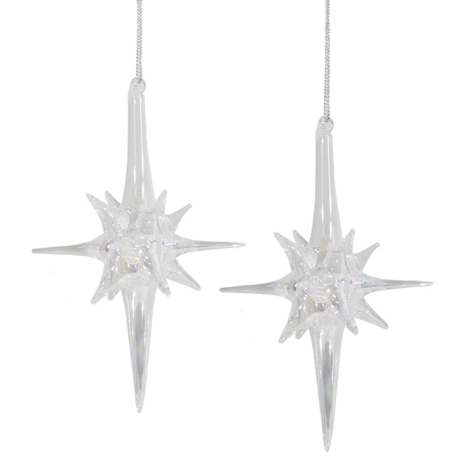 Holiday Living Starburst Ornaments - Hand-Blown Glass - 6-in - Clear - Set of 2
