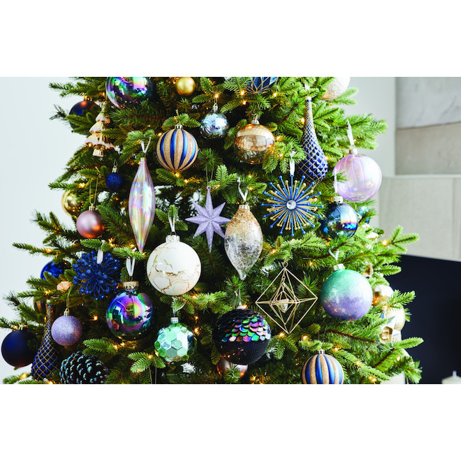 Holiday Living Christmas Ball Ornaments - Crackle Pattern - 4-in - Glass - White/Gold - Set of 2