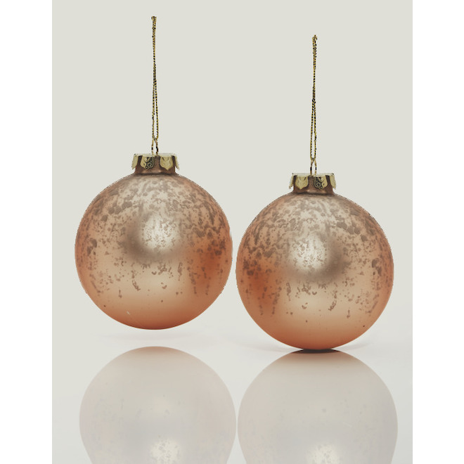 Holiday Living Christmas Ball Ornaments - 4-in - Glass - Gold/Pink - Set of 2