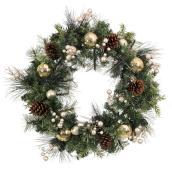 Couronne illuminée Holiday Living, DEL, 30 po, PVC/pommes de pin, vert/or