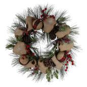 Holiday Living Christmas Wreath with Burlap Ribbon - 30-in - Green/Beige