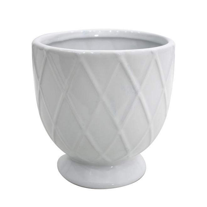 Jardinière de style urne en céramique Allen + Roth, 7,75 po, blanc