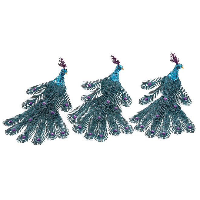 Holiday Living 3-Pack Blue Peacock Christmas Ornaments
