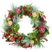 Holiday Living 1-Pack 30-in Indoor Battery-Operated Green and Red Artificial Christmas Wreath with Warm White Light