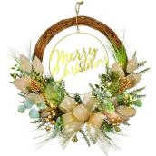 Holiday Living 1-Pack 30-in Indoor Battery-Operated Green and Gold Artificial Christmas Wreath with Warm White Light