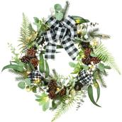 Holiday Living 1-Pack 24-in Indoor Battery-Operated Green and White Artificial Christmas Wreath with Warm White Light