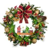 Holiday Living 1-Pack 30-in Indoor Battery-Operated Multicolour Artificial Christmas Wreath with Warm White