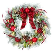 Holiday Living 30-in Indoor Battery-Operated Red and Green Flocked Artificial Christmas Wreath with White Lights