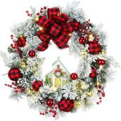 Holiday Living 1-Pack 24-in Pre-Lit Indoor Battery-Operated Red and Black Artificial Christmas Wreath