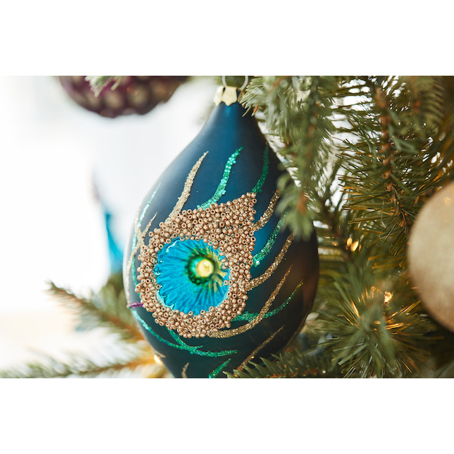 Holiday Living 2-Pack Gold and Blue Peacock Finial Ornaments