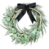 Holiday Living 22-in Indoor Green and Natural Modern Artificial Christmas Wreath with Wood Garland