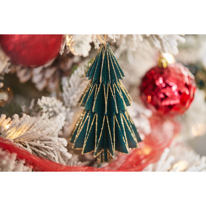 Holiday Living 2-Pack Red and Green Christmas Tree Paper Ornaments