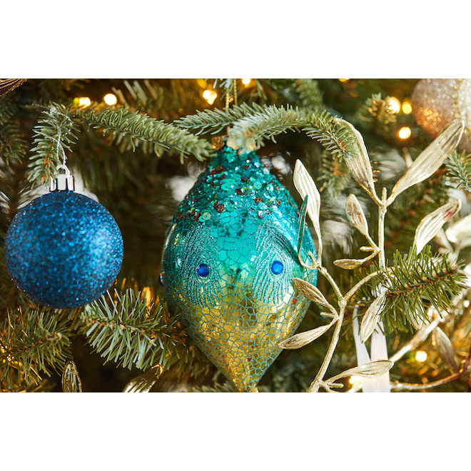 Holiday Living 2-Pack Green Peacock Feather Finial Ornaments