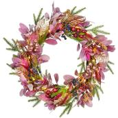 Holiday Living 24-in Indoor Battery-Operated Blush Berry Artificial Christmas Wreath with Warm White Lights
