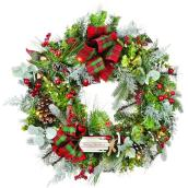 Holiday Living 30-in Indoor Battery-Operated Green and Red Sled Artificial Christmas Wreath with White Lights