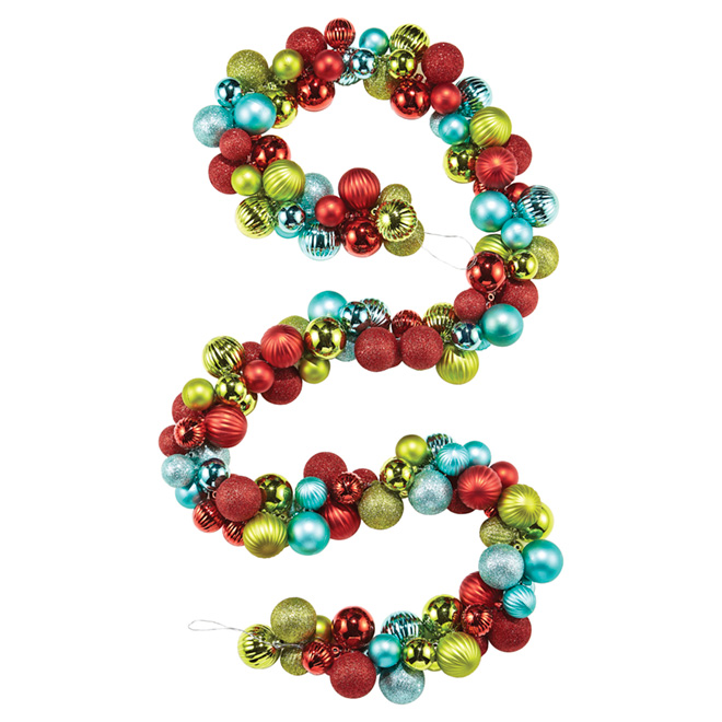 christmas ball garland shatterproof 6 goldredblue