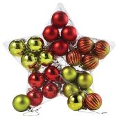 Christmas Ball Ornaments - 40 mm - Red/Green - 40/PK