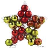 Ornements, boules de Noël, 40 mm, rouge/vert, 40/pqt