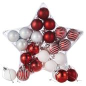 Christmas Ball Ornaments - 40 mm - Red/White - 40/PK