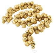 Christmas Ball Garland - Shatterproof - 6' - Gold