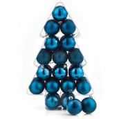 Tree Ornaments - 6 cm - Plastic - Blue - 34-Pack