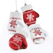 Ornement gant, plastique, 3,5'', rouge/blanc, paquet de 4