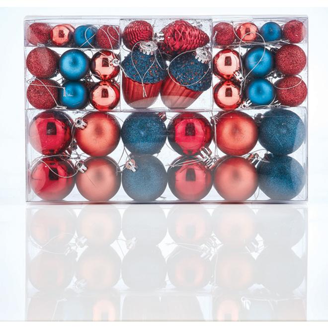 Boules de Noël variées, plastique, multicolore, paquet de 100