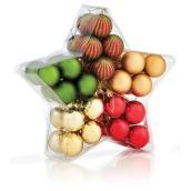 Boules de Noël variées, 4 cm, plastique, ensemble de 40