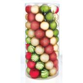 Tree Ornaments- 6 cm - Plastic - Gold/Red/Green- 101-Pack