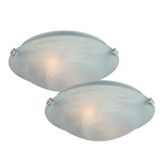 Uberhaus Ceiling Fixtures - Set of 2 - Metal and Glass - 12""