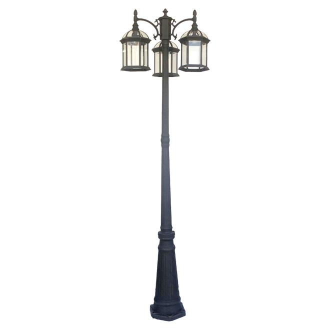 Lamp Post - 3 Lights - Flat Black
