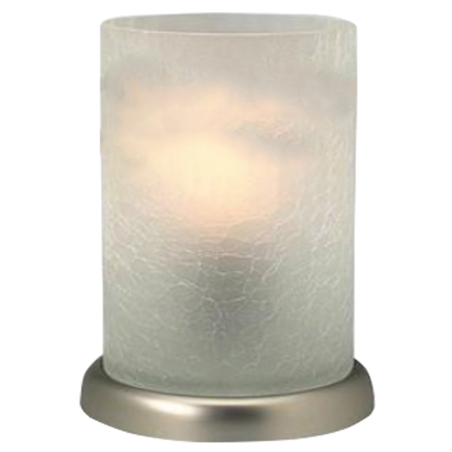 Table Lamp - Crackled Glass - Brushed Nickel
