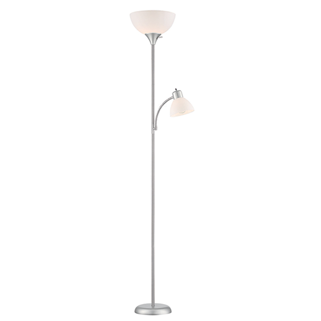 Project Source Floor Lamp with Side Light and 3-Way Switch - 71.9-in - Satin Nickel