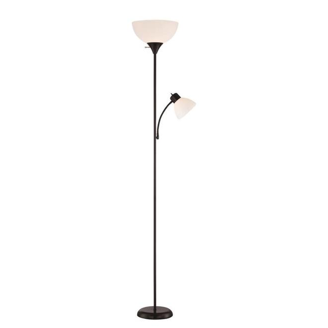 Project Source Floor Lamp with Side Light and 3-Way Switch - 71.7-in - Black