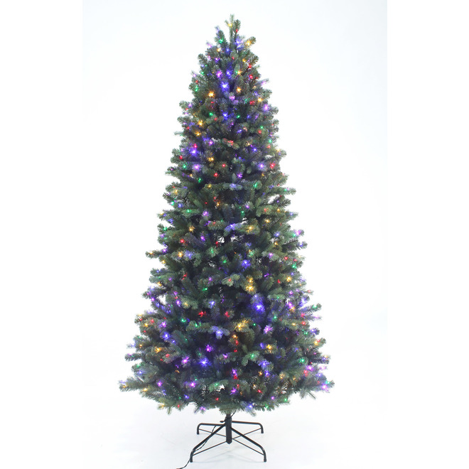 Holiday Living Juniper 7.5-ft Tree - 700 Microdot Lights Warm White and Multicolour - 1611 Tips