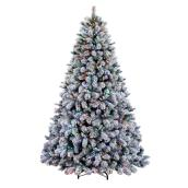 Holiday Living 7.5' Prelit Flocked Albany Pine Tree - 600 M7 LED Warm White and Multicolour Lights - 2163 Tips