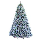 Holiday Living 7.5-ft Pre-lit Flocked Artificial Christmas Tree with 600 Multifunction Multicolour Lights