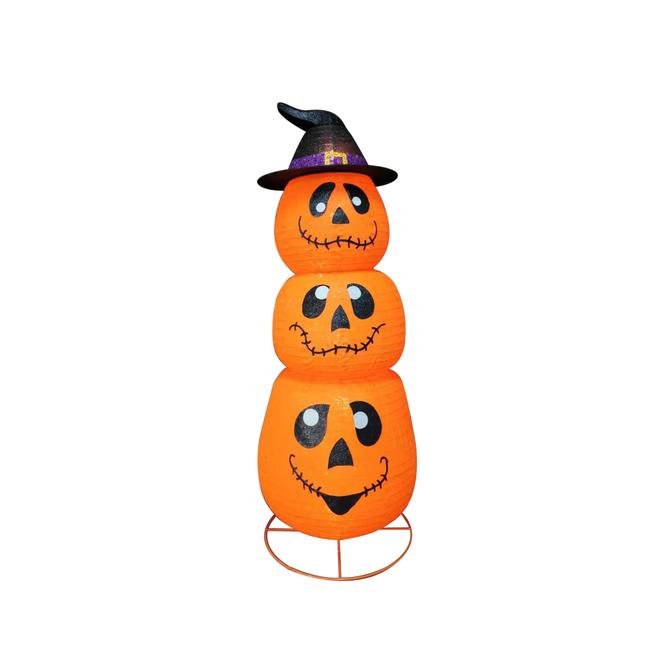 Décoration illuminée Haunted Living, citrouilles empilées grandeur nature avec chapeau de sorcière, DEL, 60 po, orange