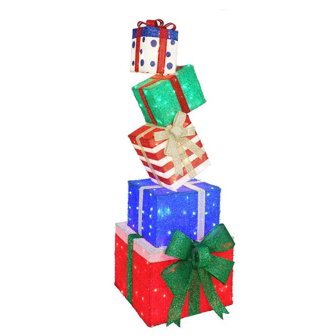 Tour de cadeaux illuminée, 26 po x 23 po x 66 po, 230 lumières à DEL, multicolore
