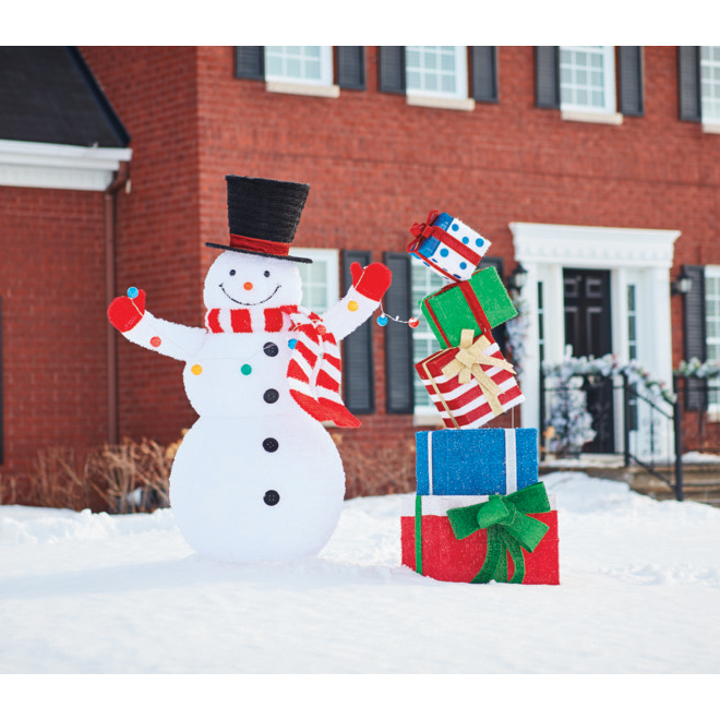 Fluffy Lighted Snowman - Pop-up - 49-in x 30-in - 72-in - Multicolour