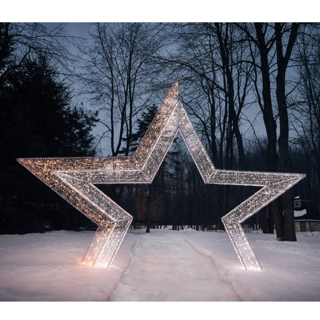 Star Shape Twinkling Arch - 700 LED Lights - 108-in - Metal/PVC - White