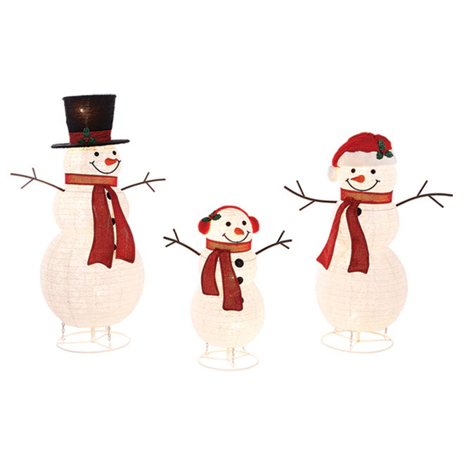Lighted Pop-Up Snowmen - Family of 3 - 96-in x 20-in x 52-in - Multicolour