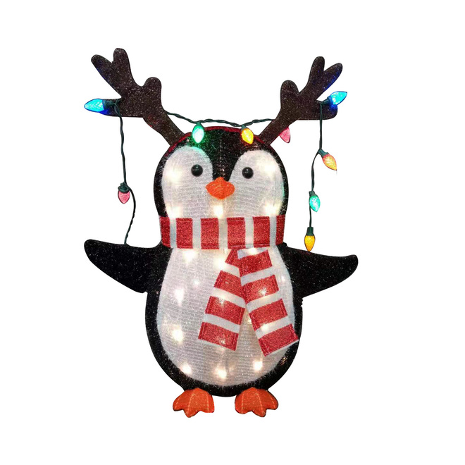 Lighted Penguin - 50 LED Lights - 24-in x 9.5-in x 28-in - Metal - Multicolour