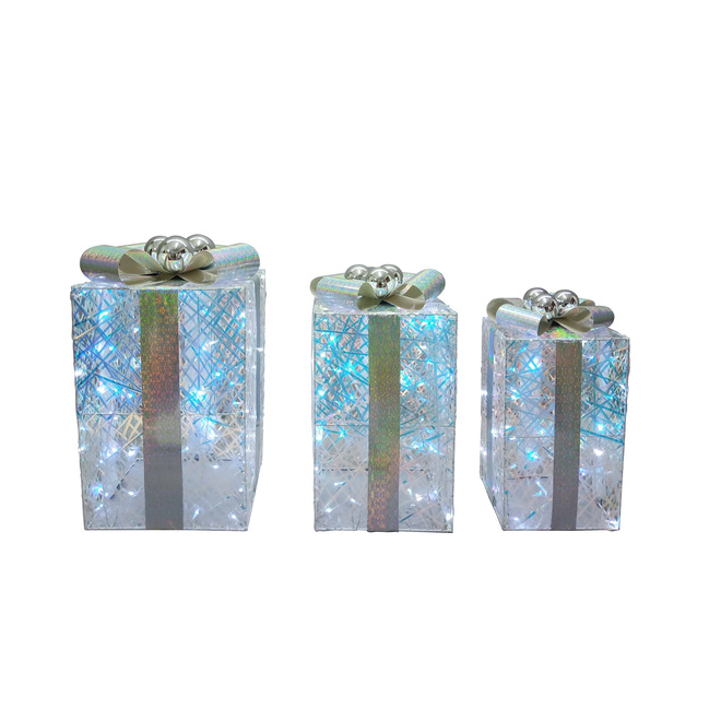 Lighted Gift Boxes - LED - Sizes 23-in, 20-in and 18-in - PVC - White
