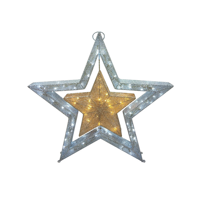 Holiday Living Twinkling Star with 110 LED Lights - 36-in - PVC - White and Gold