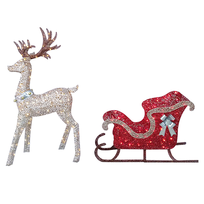 Lighted Deer and Sleigh - 200 LED Lights - 45-in x 28-in x 60-in - White and Red