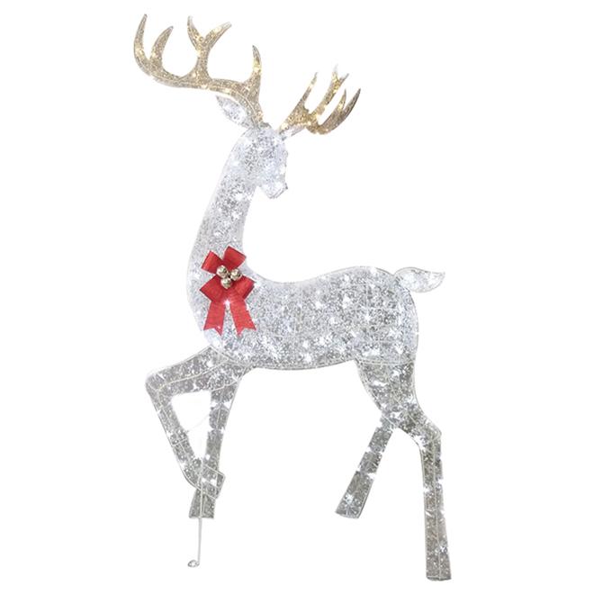 Renne illuminé Holiday Living à 180 lumières DEL, PVC, 36 po x 28 po x 68 po, blanc