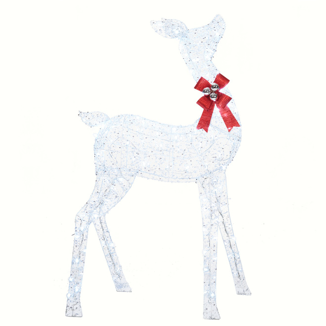 Holiday Living Lighted Doe with 160 LED Lights - PVC - 31-in x 13.5-in x 52-in - White